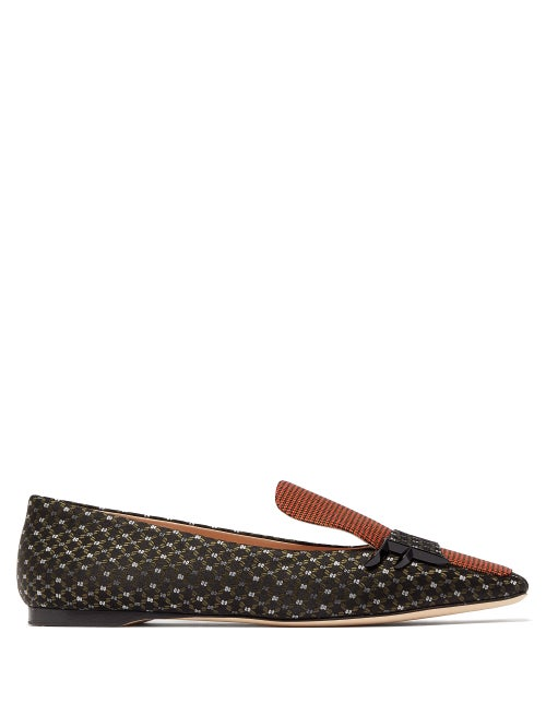 FENDI   Fendi - Ffreedom Square Toe Jacquard Loafers - Womens - Multi   Clouty