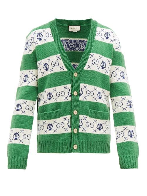 GUCCI   Gucci - GG-jacquard Wool Cardigan - Mens - Green White   Clouty