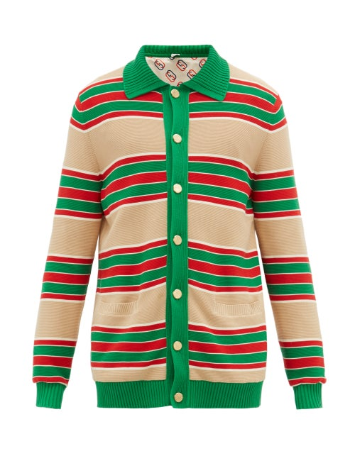 GUCCI | Gucci - Web-striped Cotton Cardigan - Mens - Green Multi | Clouty