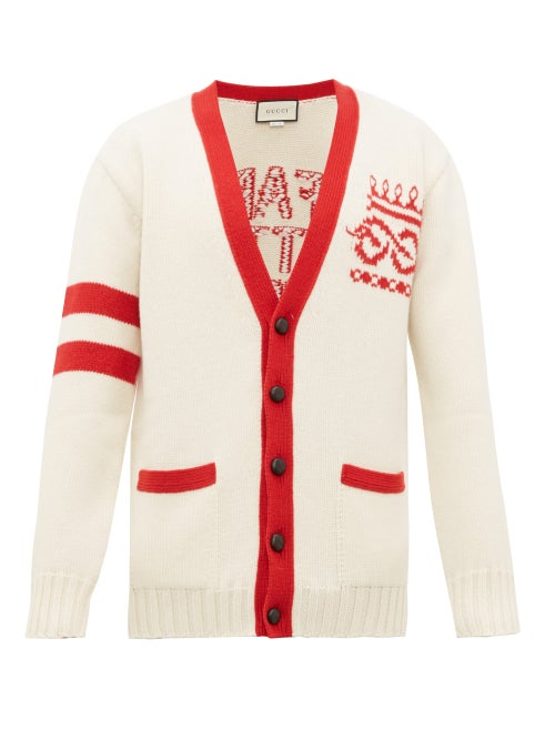 GUCCI | Gucci - Far Better Not Slogan-jacquard Wool Cardigan - Mens - Red White | Clouty