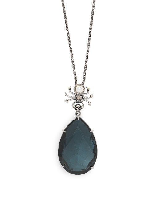 Alexander McQueen | Alexander Mcqueen - Spider And Swarovski Crystal Necklace - Womens - Blue | Clouty