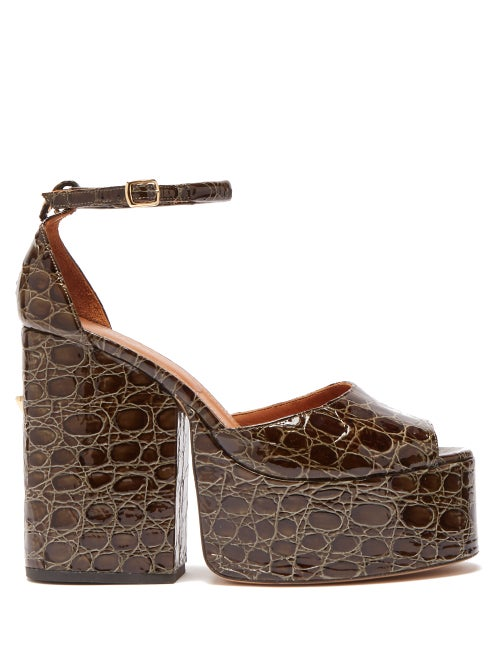 Osman | Osman - Gesa Crocodile Effect Leather Platform Sandals - Womens - Khaki | Clouty