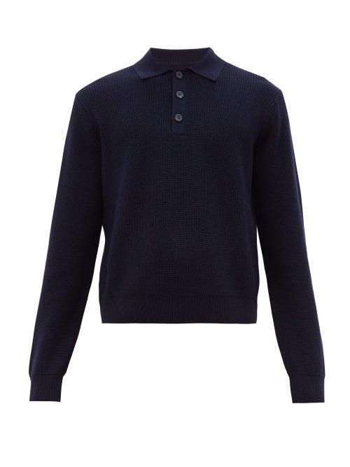 Studio Nicholson | Studio Nicholson - Sazen Merino Wool Polo Shirt - Mens - Dark Navy | Clouty