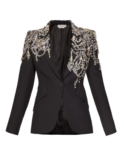 Alexander McQueen | Alexander Mcqueen - Crystal-embellished Single-breasted Crepe Blazer - Womens - Black | Clouty