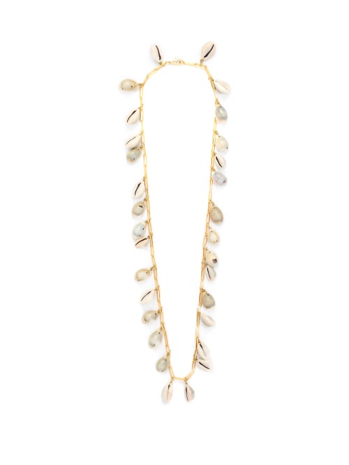 Timeless Pearly | Timeless Pearly - Shell And Gold-plated Chain Necklace - Womens - White | Clouty