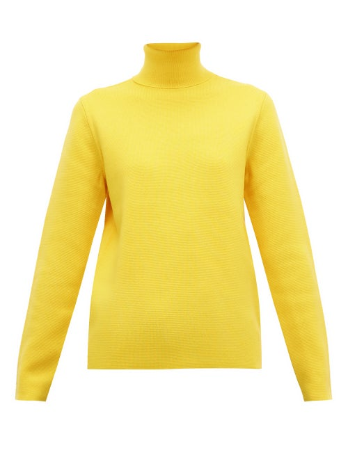 Aztech Mountain | Aztech Mountain - Matterhorn Roll-neck Wool Sweater - Womens - Yellow | Clouty