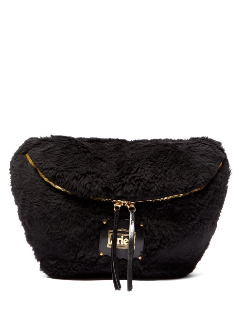 Aries | Aries - Elise Shearling Oversized Belt-bag - Womens - Black | Clouty