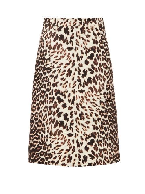PRADA | Prada - Leopard-print Wool-twill Skirt - Womens | Clouty
