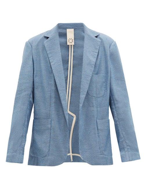 Marrakshi Life   Marrakshi Life - Oversized Single-breasted Cotton-blend Blazer - Mens - Blue   Clouty