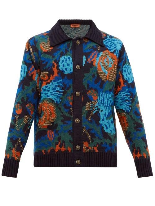 Missoni | Missoni - Floral-jacquard Wool-blend Cardigan - Mens - Burgundy | Clouty
