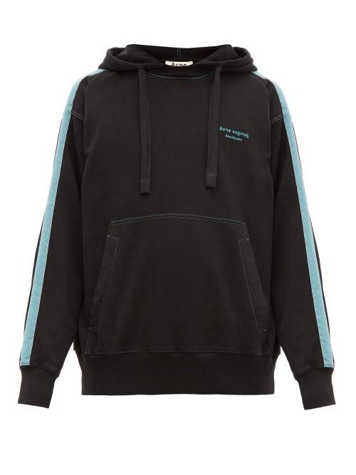 Acne Studios | Acne Studios - Franz Striped Cotton Hooded Sweatshirt - Mens - Black | Clouty