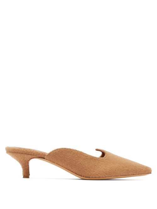 Giuliva Heritage Collection | Giuliva Heritage Collection - X Le Monde Beryl Camel-hair Kitten-heel Mules - Womens - | Clouty