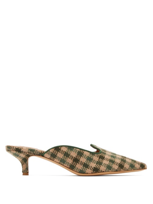 Giuliva Heritage Collection | Giuliva Heritage Collection - X Le Monde Beryl Checked Kitten-heel Mules - Womens - Green Multi | Clouty