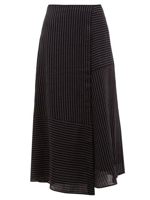 Cefinn   Cefinn - Patchwork Pinstripe Voile Midi Skirt - Womens - Navy White   Clouty
