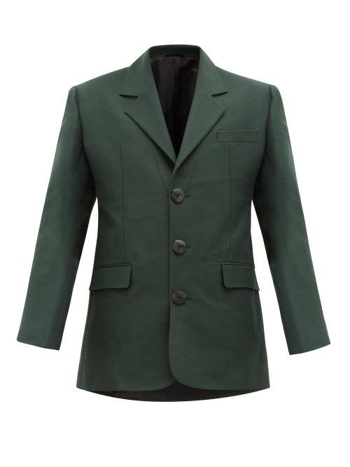 Namacheko | Namacheko - Shirin Single-breasted Cotton-blend Twill Blazer - Mens - Green | Clouty