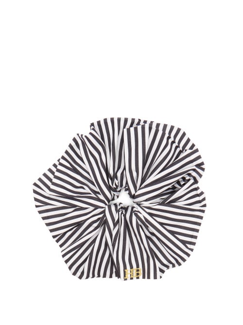 Hillier Bartley | Hillier Bartley - Logo-embroidered Striped Satin Scrunchie - Womens - Black White | Clouty