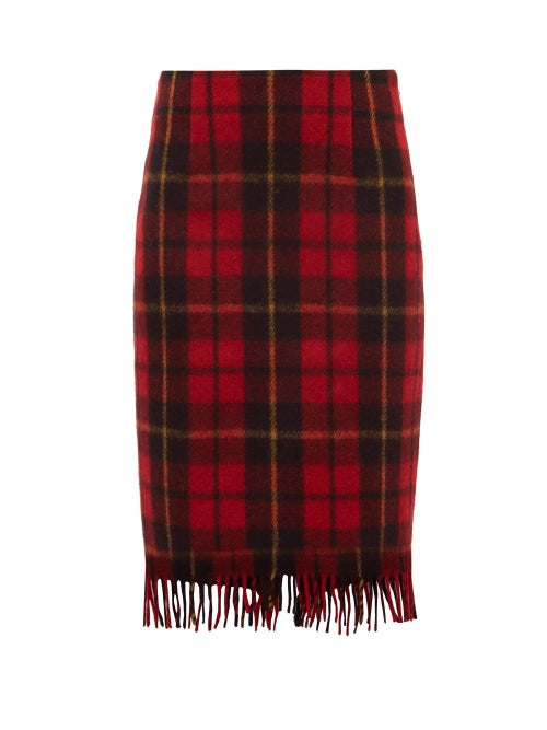 Marine Serre | Marine Serre - Tartan Upcycled Wool Skirt - Womens - Red | Clouty