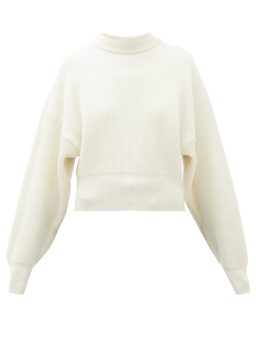 Cordova | Cordova - Megeve Cropped Ribbed-knit Wool Sweater - Womens - Cream | Clouty