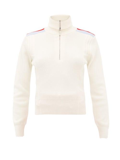Cordova | Cordova - Are Shoulder-stripe Quarter-zip Wool Sweater - Womens - Cream | Clouty