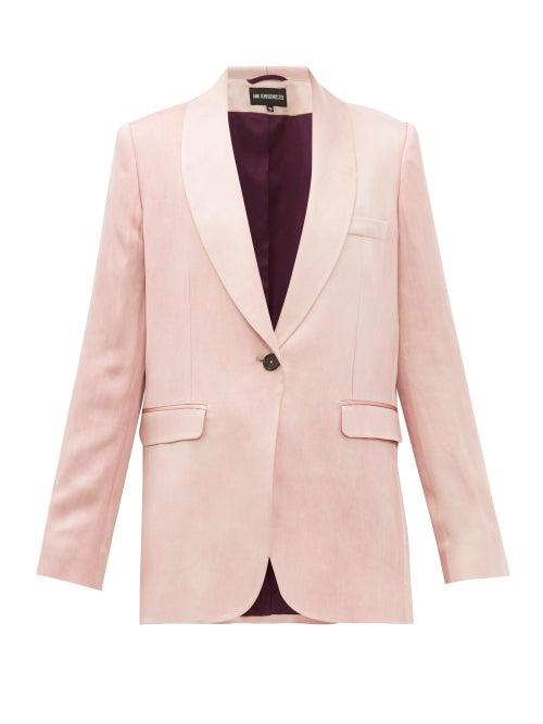 Ann Demeulemeester | Ann Demeulemeester - Yana Single-breasted Satin Jacket - Womens - Light Pink | Clouty