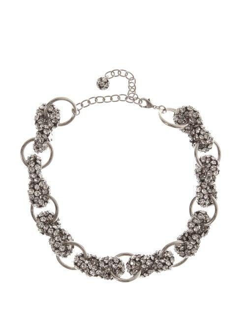SAINT LAURENT | Saint Laurent - Crystal-embellished Choker - Womens - Silver | Clouty