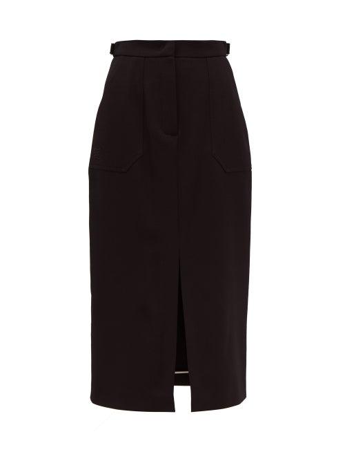 FENDI | Fendi - Wool-gabardine Midi Skirt - Womens - Black | Clouty