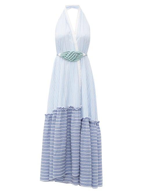 Love Binetti   Love Binetti - Halterneck Striped-cotton Maxi Dress - Womens - Light Blue   Clouty