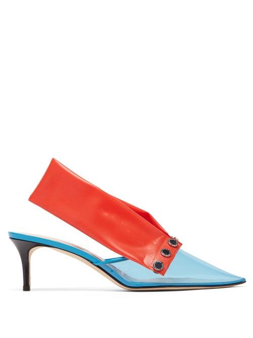 CHRISTOPHER KANE | Christopher Kane - Detachable-strap Pvc Kitten-heel Mules - Womens - Blue Multi | Clouty