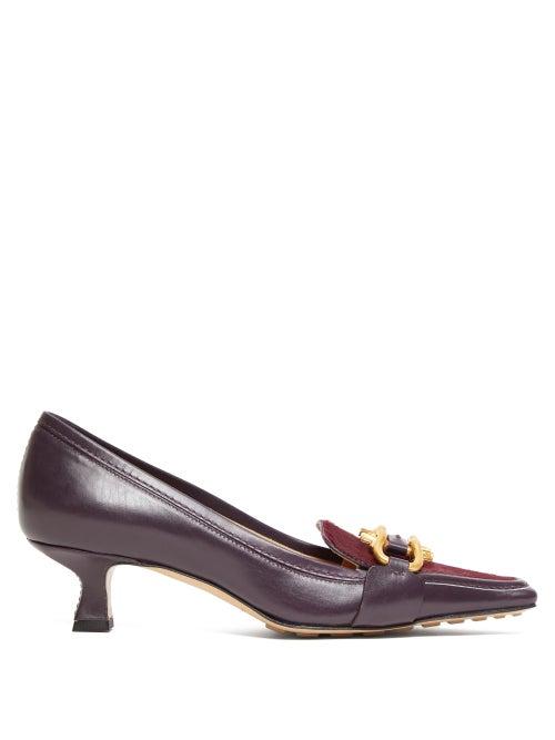 Bottega Veneta | Bottega Veneta - Bv Madame Leather Pumps - Womens - Burgundy | Clouty