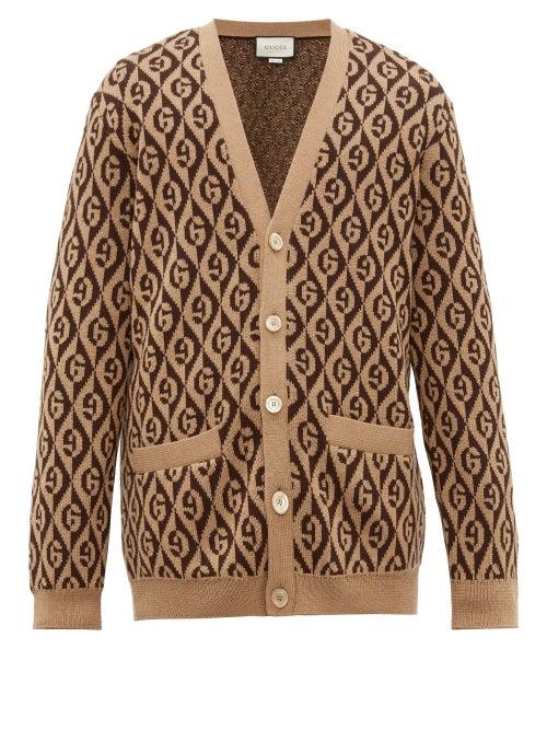 GUCCI | Gucci - Logo-jacquard Wool Cardigan - Mens - Brown | Clouty