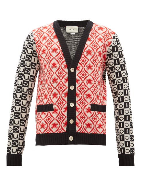 GUCCI | Gucci - Logo-jacquard Wool Cardigan - Mens - Black Red | Clouty