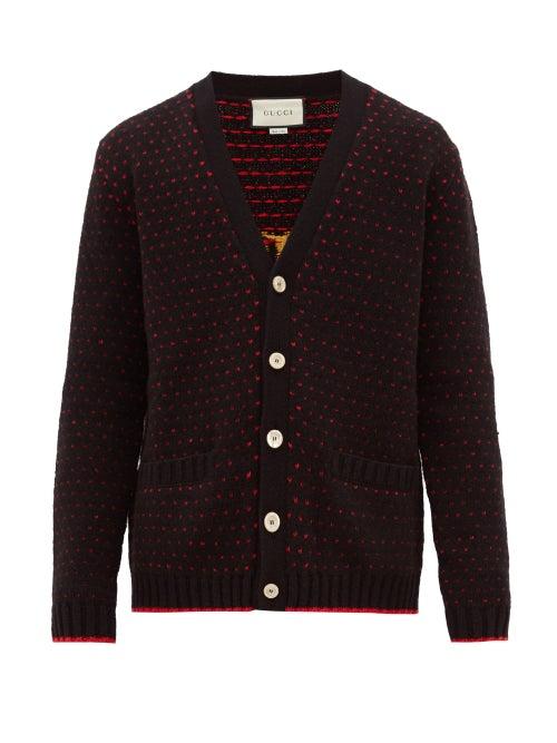 GUCCI   Gucci - Lamb-intarsia Wool Cardigan - Mens - Black   Clouty