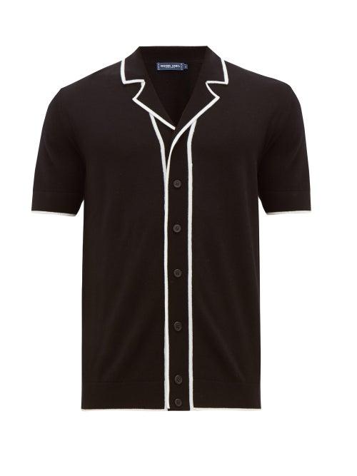 Frescobol Carioca | Frescobol Carioca - Tipped Camp-collar Merino-wool Shirt - Mens - Black | Clouty