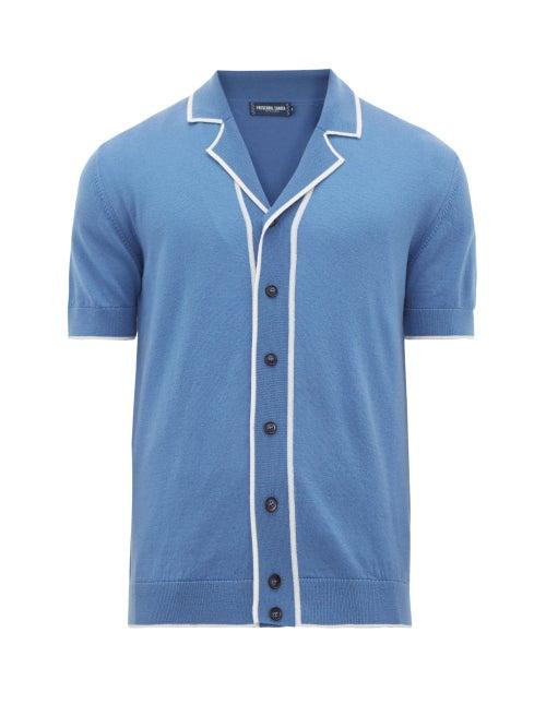 Frescobol Carioca | Frescobol Carioca - Tipped Camp-collar Merino-wool Shirt - Mens - Blue | Clouty