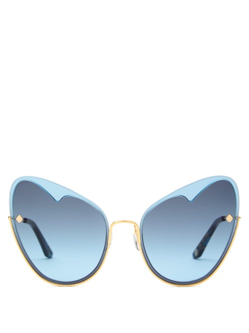 MOY ATELIER | Moy Atelier - Naked Heart Cat-eye Gold-plated Sunglasses - Womens - Blue | Clouty
