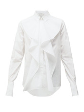 Фото Alexander Mcqueen - Ruffled Cotton Poplin Shirt - Womens - White