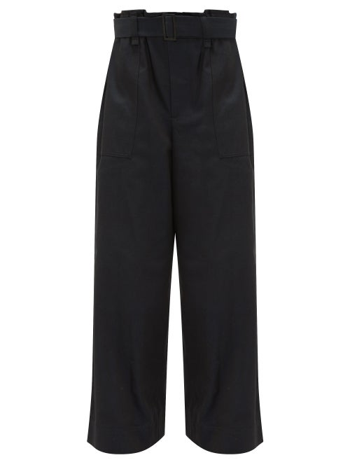 ISSEY MIYAKE | Issey Miyake - Flared-leg Cotton-blend Trousers - Womens - Black Navy | Clouty