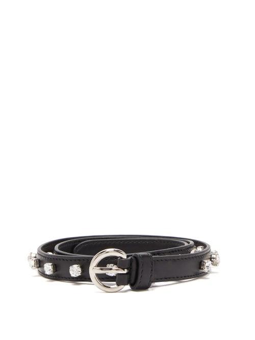 MIU MIU | Miu Miu - Crystal-embellished Leather Belt - Womens - Black | Clouty