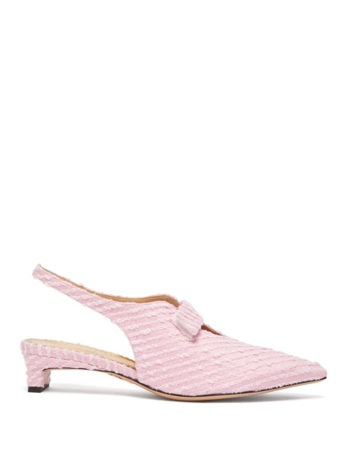 Emilia Wickstead | Emilia Wickstead - X Charlotte Olympia Slingback Boucle Pumps - Womens - Pink | Clouty