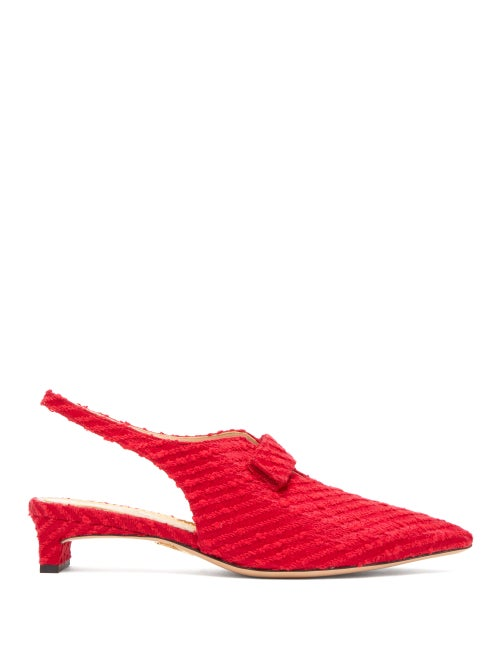 Emilia Wickstead   Emilia Wickstead - X Charlotte Olympia Slingback Boucle Pumps - Womens - Red   Clouty