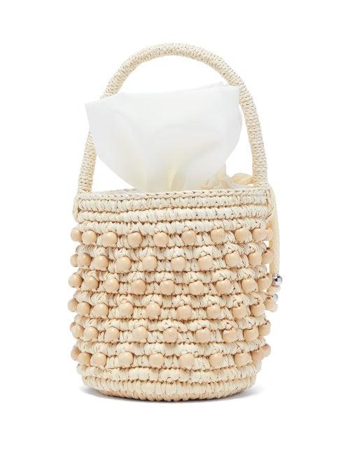 Sensi Studio | Sensi Studio - Beaded Toquilla Straw Bucket Bag - Womens - Beige | Clouty