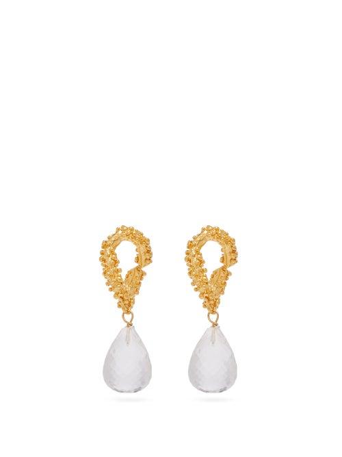 Alighieri   Alighieri - The Initial Spark Glass-drop 24kt Gold Earrings - Womens -   Clouty