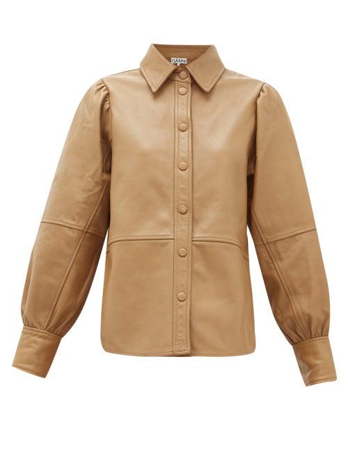 Ganni | Ganni - Panelled Leather Shirt - Womens - Beige | Clouty