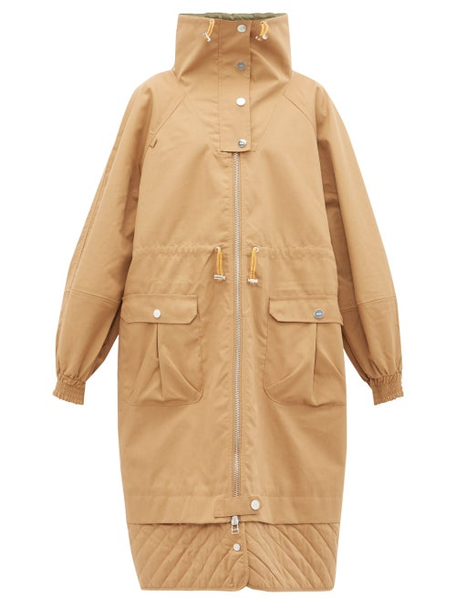 Ganni | Ganni - Funnel Neck Puff Sleeve Cotton Blend Parka Coat - Womens - Beige | Clouty