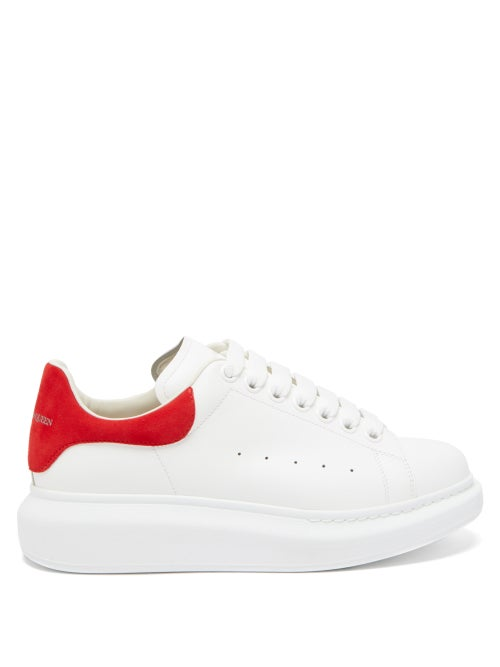 Alexander McQueen   Alexander Mcqueen - Raised-sole Low-top Leather Trainers - Womens - Red White   Clouty