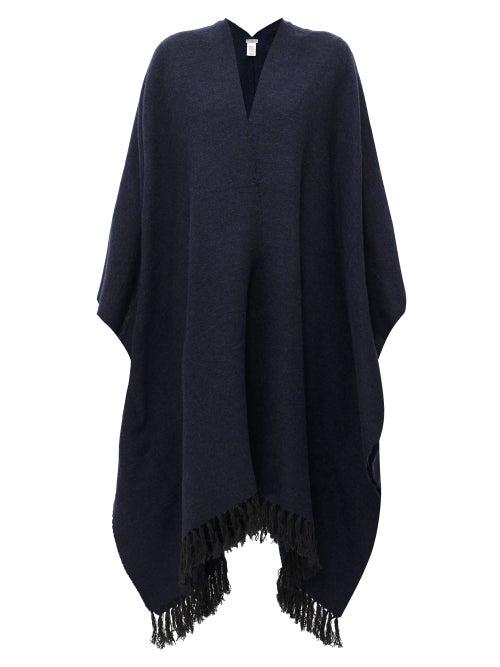 Brunello Cucinelli | Brunello Cucinelli - Fringed Cape - Womens - Dark Blue | Clouty
