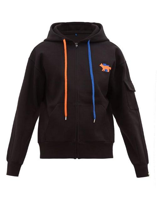 MAISON KITSUNÉ | Ader Error X Maison Kitsune - Fox Print Cotton Blend Jersey Hooded Sweatshirt - Mens - Black | Clouty