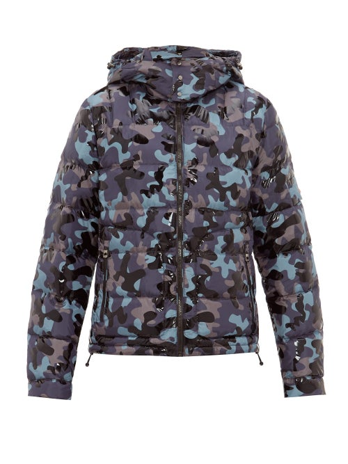 49 Winters | 49 Winters - Camouflage-print Hooded Down Jacket - Mens - Navy Multi | Clouty