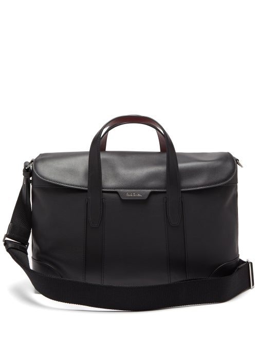 Paul Smith | Paul Smith - Signature-striped Leather Briefcase - Mens - Black | Clouty