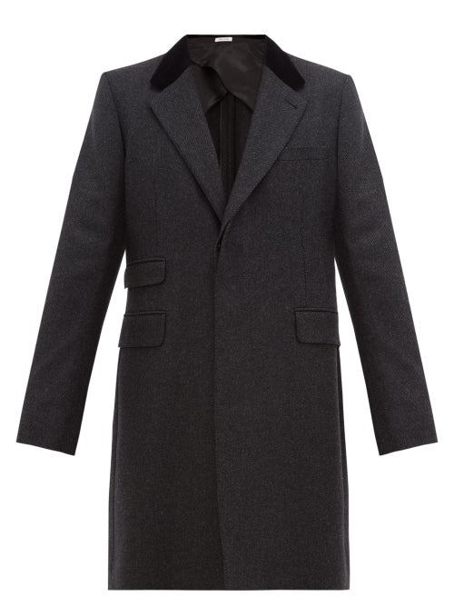 Alexander McQueen | Alexander Mcqueen - Velvet-collar Single-breasted Wool-twill Coat - Mens - Black Grey | Clouty